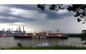 Containerschiff YM WINDOW auf dem Weg zum Containerterminal Waltershof am 03.06.2020 (© schwartz photographie)